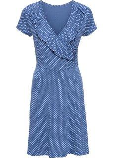 Трикотажное платье в горошек с воланами (нежный индиго/белый в горошек) Bonprix