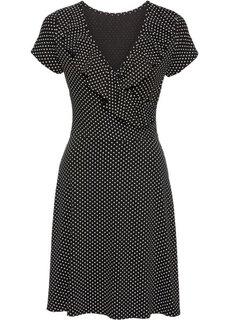 Трикотажное платье в горошек с воланами (черный/белый в горошек) Bonprix