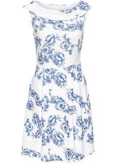 Трикотажное платье с принтом (белый/синий с рисунком) Bonprix