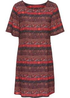 Полосатое платье (красный с узором) Bonprix