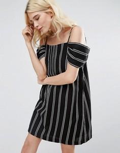 Платье в полоску с открытыми плечами Greylin Riya - Черный