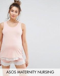 Пижамная майка для кормления и шорты с кружевной отделкой ASOS Maternity - Розовый
