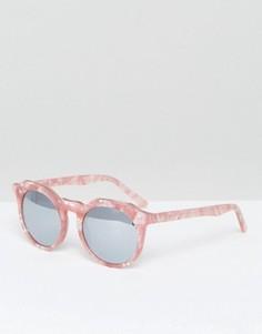 Круглые солнцезащитные очки в розовой черепаховой оправе Pala - Розовый