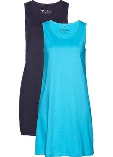 Хлопковое трикотажное платье (бирюзовый + темно-синий) Bonprix