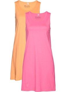 Хлопковое трикотажное платье (ярко-розовый фламинго + абрикосовый) Bonprix