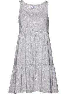 Трикотажное платье с завязывающейся лентой (светло-серый меланж) Bonprix