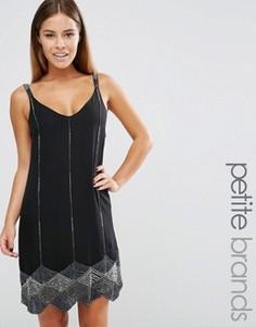 Платье на бретельках с фигурной кромкой и бисером Maya Petite - Черный