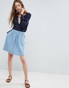 Расклешенная юбка из шамбре See U Soon - Синий