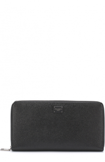 Кожаный бумажник на молнии с отделениями для кредитных карт и монет Dolce & Gabbana