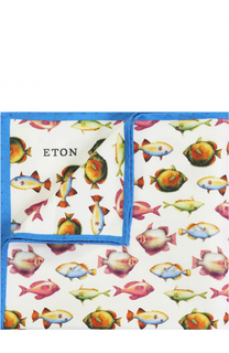 Платок из смеси хлопка и шелка с принтом Eton