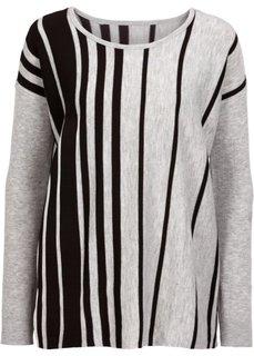 Пуловер оверсайз (светло-серый меланж/черный меланж) Bonprix