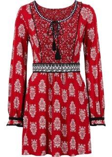 Трикотажное платье на шнурках (красный с рисунком) Bonprix