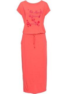 Трикотажное платье с принтом и коротким рукавом (омаровый) Bonprix