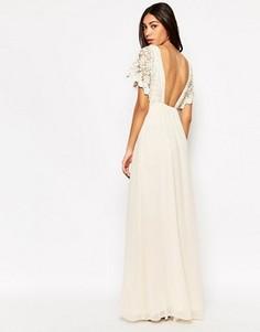 Платье макси с топом кроше и открытой спиной Traffic People - Кремовый