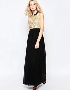 Платье макси с пайетками на лифе Little Mistress - Золотой