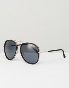 Черные солнцезащитные очки-авиаторы Quay Australia Needing - Черный