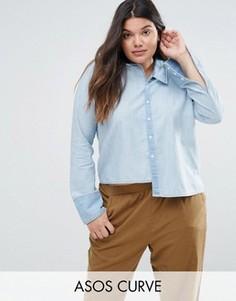Джинсовая рубашка с асимметричным воротником и краем ASOS CURVE - Синий