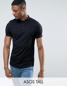Черная футболка-поло ASOS TALL - Черный