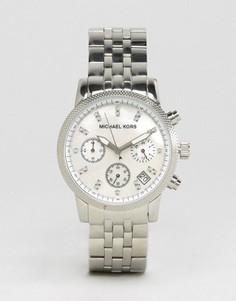 Часы с хронографом и серебристым ремешком Michael Kors Ritz Glitz MK5020 - Серебряный