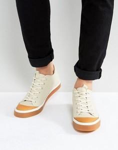 Бежевые кеды на шнуровке с каучуковой подошвой ASOS - Светло-серый