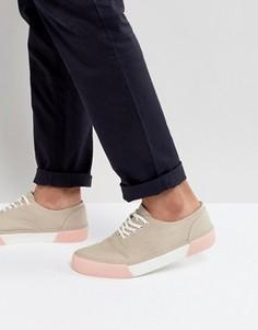 Бежевые кеды на шнуровке с контрастной подошвой ASOS - Светло-серый