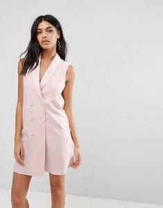 Платье в стиле смокинга без рукавов ASOS - Розовый