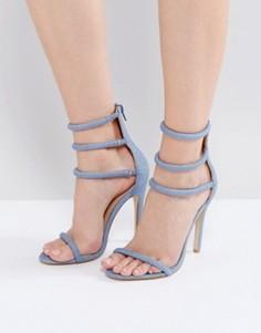 Джинсовые босоножки на каблуке с ремешками Public Desire Aisha - Синий