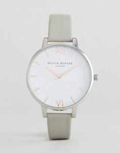 Часы с серым кожаным ремешком и большим циферблатом Olivia Burton - Серый