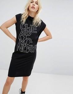 Платье с высоким воротом и логотипом Cheap Monday - Черный