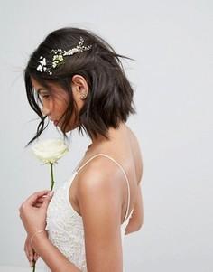 Гребень для волос с искусственным жемчугом и листиками Love Rocks - Золотой
