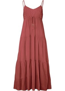 Платье из крепа с лифом из вязаного кружева (красное дерево) Bonprix