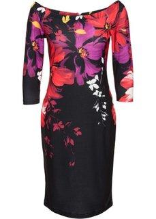 Платье с цветочным принтом (черный) Bonprix