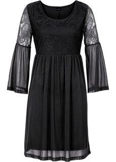 Платье с рукавами-фонариками (черный) Bonprix