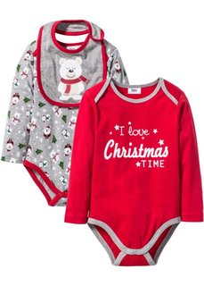 Мода для малышей: боди с длинным рукавом + слюнявчик из биохлопка (3 изд.) (красный/серый меланж с рисунком) Bonprix