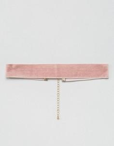 Розовый бархатный чокер ASOS - Розовый