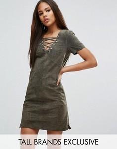 Замшевое платье со шнуровкой ASOS TALL - Зеленый