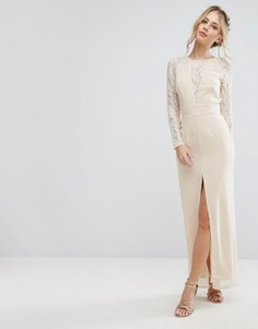 Кружевное платье макси с разрезом и V-образным вырезом Elise Ryan - Кремовый