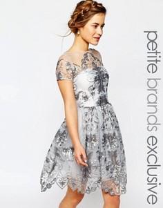 Платье миди для выпускного с пайетками Chi Chi London Petite - Серый