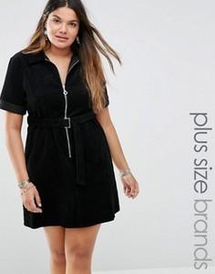 Вельветовое платье на молнии с короткими рукавами и поясом Alice & You - Черный