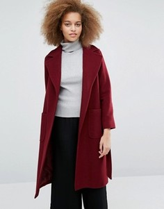 Бордовое пальто с поясом Helene Berman Becca - Красный