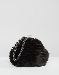 Клатч из искусственного меха с ремешком-цепочкой Missguided - Черный