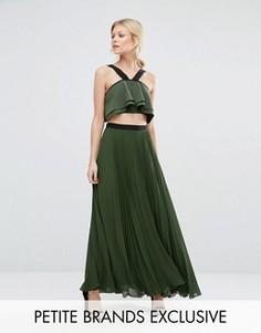 Плиссированная юбка макси с контрастным поясом True Decadence Petite - Зеленый