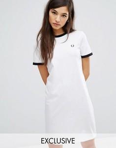 Платье-футболка Fred Perry Archive Ringer - Белый