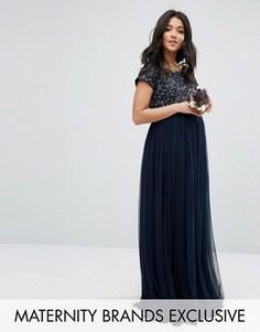 Платье макси для беременных с пайетками и тюлевой юбкой Maya Maternity -  Темно-синий 5584093cc2c