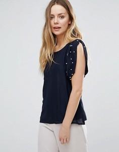 Блузка с искусственным жемчугом на плечах Jasmine - Темно-синий