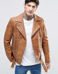 Светло-коричневая байкерская куртка из нубука с поясом ASOS - Рыжий