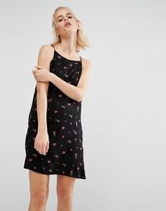 Свободное платье с цветочным принтом Vans - Черный