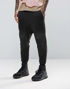 Черные байкерские джоггеры с заниженным шаговым швом ASOS - Черный