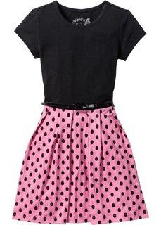Платье с поясом (черный/бледно-пурпурный) Bonprix