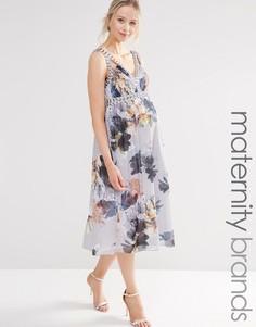 Короткое приталенное платье для беременных с цветочным принтом и глубоким вырезом Little Mistress Maternity - Мульти